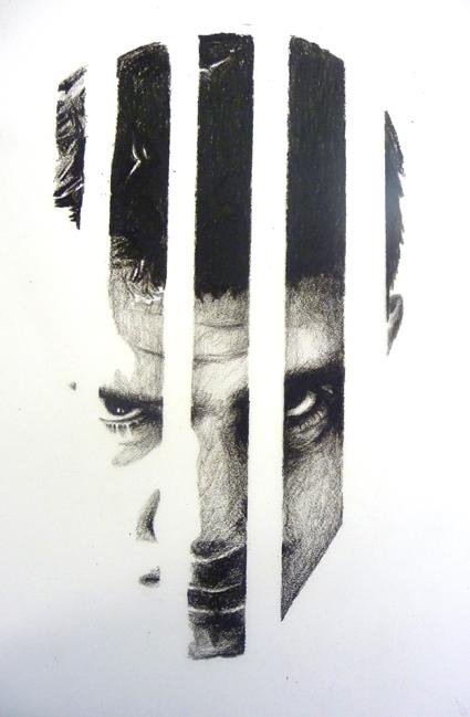 face behind bars